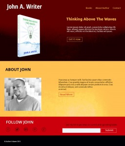 custom author websites design in red theme by iamselfpublished.com